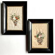 Rare Pair Antique Chinese Floral Still Life Pith Rice Paper Watercolor Paintings