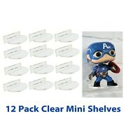 For Funko Pop Vinyl 12 Pack Acrylic Wall Stand, Stick On, Single Shelf No Nails