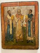 An Antique Xviiic Three Hierarchs Serbian Icon. Hand-painted. Tempera And Wood.