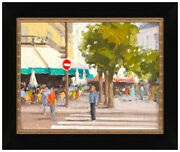Anne Blair Brown Original Oil Painting On Board Signed Cityscape Framed Artwork