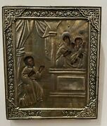 Antique Xixc Russian Brass Riza Icon. John The Baptist Mother Of God And Jesus.