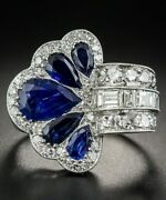 Antique Victorian Style Ring Blue Pear Unique Design Jewelry 925 Sterling Silver