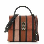 Salvatore Ferragamo Boxyz Top Handle Bag Striped Snakeskin And Leather Large