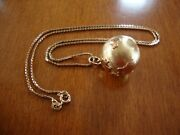 14k Solid Yellow Gold Earth World Globe Pendant And 10k 20'' Necklace