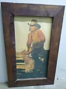 Vintage 1980's Western Beer Coors Cowboy Print By Gordon Snidow In Wooden Frame