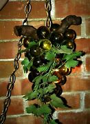 Mid-century Lucite Hanging Grapes Lamp, 14x 10-w/10ft Of Chain-amber