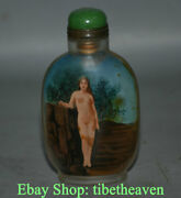 9.5cm China Exquisite Handmade Nudity Belle Inner Painting Glass Snuff Bottle