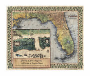 St. Augustine Florida Map Art On Wood Or Metal Great Vintage Wall Decor And Gift