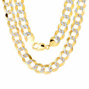 10k Yellow Gold Solid 12.5mm Diamond Cut Pave Cuban Curb Chain Necklace 24- 30