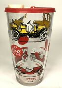 Glass Pitcher Mixer Cup Antique Cars Chevy Ford Buick W Lid 7 Anchor Hocking
