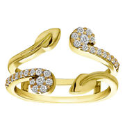 0.41 Ct Diamond Two Stone Leaf Ring Guard Enhancer Set In 14k Solid Yellow Gold