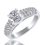 1.22ct Simulated Ideal Round Diamonds Three-rows Ring 18k White Gold