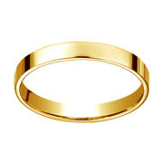 14k Yellow Gold 3 Mm Traditional Flat Wedding Band Ring Size 11