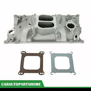 For Vortec 350 Heads Sbc Chevy Dual Plane Satin Aluminum Intake Manifold 96-up