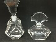 2 Clear Glass Perfume Bottles W/stoppers - Fan And Tulip Form Stoppers