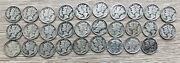 Lot Of 29 Mercury Silver Dimes 1917 To 1944