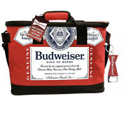 """Budweiser Beer Fabric Insulated Cooler W Bottle Opener Red 17""""x10""""x11"""" Bag New"""