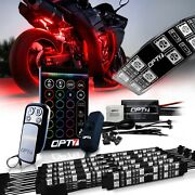 Opt7 10pcs Motorcycle Led Light Pair Strips Kit All-color Under Glow Neon Sport
