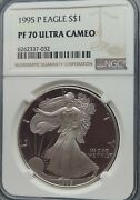 1995 P Ngc Pf70 Ucam Certified American Silver Eagle 1 Proof Ultra Cameo Pr70
