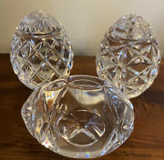 Waterford Crystal Egg Collectibles Set Of 3 2.5 Mixed Pattern Eggs New W/o Box