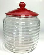 Vintage Beehive Canister Ribbed Glass Jar W Red Glass Lid Cover 7.5 Rare