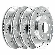 [2 Front + 2 Rear] 4 Platinum Hart Drilled And Slotted Disc Brake Rotors - 2713