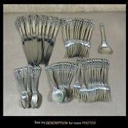 Vintage 60pc Wallace Sterling Silver Flatware Set Grand Baroque Pattern