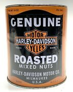 Rare Genuine Harley Davidson Motorcycles Roasted Mix Nut Oil Style Empty Tin Can