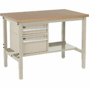 48w X 30d Workbench 1-1/2 Thick Shop Top Square Edge With Drawers And Shelf