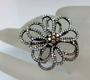 Genuine Champagne Brown Diamond Floral Design Cocktail Ring Solid 18k/750 Gold