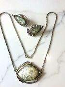 Avi Soffer Roman Glass Sterling Silver Necklace And Earrings Set Organic Form