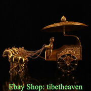 12 Old China Copper Gold Gems Tang Dynasty Palace Horse Carriage People Statue