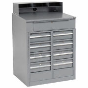 Shop Desk With 9 Drawers 34-1/2w X 30d X 51-1/2h Gray