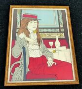 Phillipe Henri Noyer Artist Signed Color Lithograph Of Redhead Girl At Table