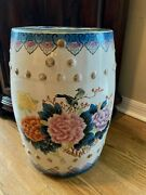 18 Vintage Porcelain Barrel Shaped Chinese Asian Garden Seatbirds And Flowers
