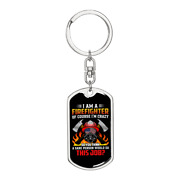 Firefighter Is My Job Keychain Stainless Steel Or 18k Gold Dog Tag Keyring