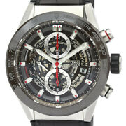 Auth Tag Heuer Watch Carrera Calibre 01 Chronograph Ss Automatic Car201u Leather