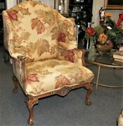 Vintage Chippendale Style Mahogany Ball And Claw Oversize Wingback Arm Chair