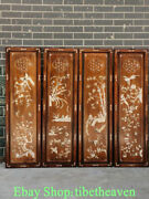 48 Old China Huanghuali Wood Shell Dynasty Palace Flower Bird Four Screen Set