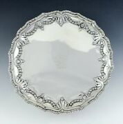 Antique 1772 Irish Sterling Silver Footed Lion Crest Salver Tray 8 1/2