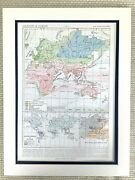 1895 Antique Map Of The World Climate Ocean Currents Oceanography Old French