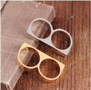Solid Yellow Gold Simple Double Finger Ring Modern Ladies Design Sm47