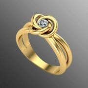 18k Ring Solid Yellow Gold Ladies Jewelry Elegant Simple Floral Twisted Cgr67
