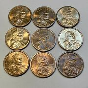 Lot Of 9 Sacagawea Dollars Multiple Years Some With Blue Toning