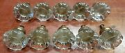 10 Beautiful Vintage Glass And Brass Drawer Cabinet Pulls Handles Knobs 1 1/2
