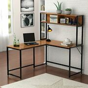 Corner L-shaped Computer Desk With Hutch Pc Laptop Study Table Workstation Wood
