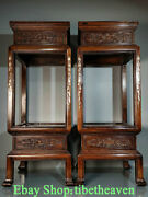 34 Old Chinese Huanghuali Wood Shell Hand Carving Palace Flower Fancy Shelf