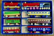 Vintage Toia Wooden Toy Trains In Box Set Of 8 1950s Czechoslovakia