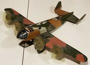 Vintage 1940s Marx Tin Litho Army Military Plane Airplane Toy Camo 65a Wind Up