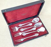 Antique Christofle Cutlery Hors Dand039oeuvres Serving Set French Silver Plated Rare